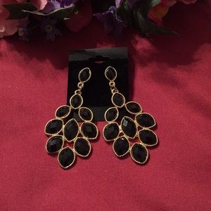 4/$30-Erica Lyons Black Chandelier Drop Earrings